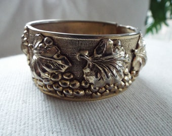 silver wide cuff bangle clamper bracelet hallow work hinged embossed  repousse georgian