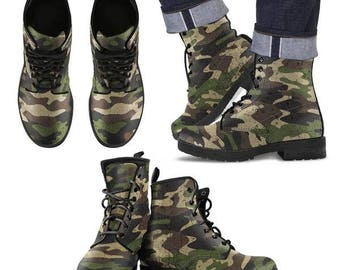 Camouflage Leather Boots Men & Women