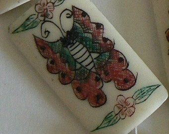 SALE 2PC Hand Carved Bone Bead Painted Pendant Butterfly