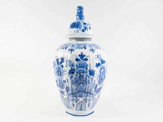 1982 De Porceleyne Fles Delft Blue Lidded Vase Delft Blue