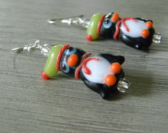 Penguin Lampwork Glass Earrings Green Hat and Scarf