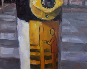"""small oil painting of a Dutch traffic light, """"Stating the obvious"""", 6x8 inch, oil on gessobord"""