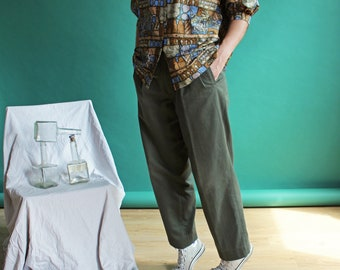 Pleated pants / Khaki vintage pants / FPAN18-1