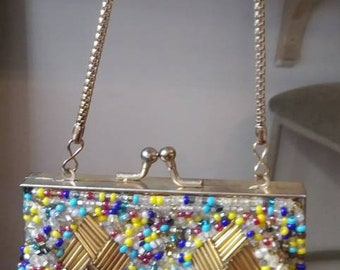Pretty Vintage Multicolor Totally Beaded Purse Goldtone Clasp & Strap Chain