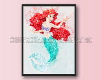 Princess Ariel Print | The Little Mermaid | Disney Poster | Nursery Printable | Watercolor Painting Effect | Girl Decor | Kids Wall Art