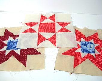Vintage Patchwork Quilt Squares, Three Quilt Squares