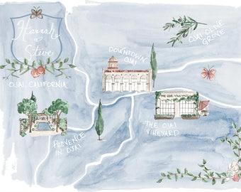 Custom Map Illustration, Wedding Map