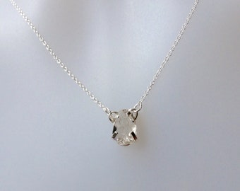 April  birthstone Necklace, Herkimer Diamond necklace, Herkimier Diamond  Pendant, Sterling Silver, Herkimer Pendant, diamond necklace