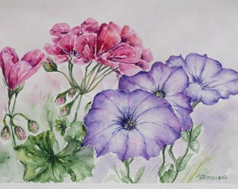 Original Watercolor, floral art, geranium painting, Pink flower painting, Still Life, Watercolor purple flowers, gift for mom, Free shipping