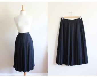 Vintage Black Knife Pleated Midi Skirt