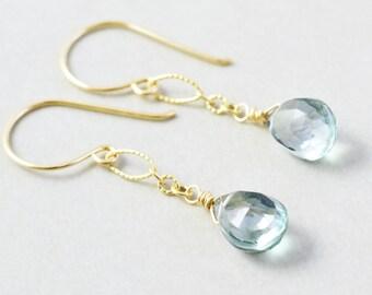 Green Quartz Dangle Earrings, Mint  Drop Earrings, Handmade
