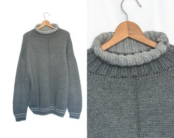 Vintage 90s Turtleneck Gray Slouchy Oversized Sweater Boyfriend Hipster Normcore Handmade Sweater Pullover Long Sleeve Crewneck Sweater