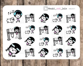 EXERCISE Planner stickers, Gym Planner Stickers, Jogging Stickers, Planner Stickers, Weights planner stickers (SAL027)