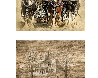 Horse-Wagon Vintage House Instant Download Printable Post Cards Scrapbooking Journaling Cardmaking Digital Cards Vintage Cards Vintage House