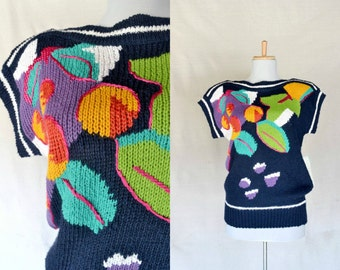 80s navy knit sweater / leaves and floral design / boatneck / NOS /  size small