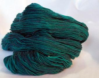 BFL Sock Yarn, Tealosaurus Rex Hand Dyed