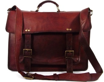 VTG 90's Big Whiskey Italian Cognac Leather Crossbody Tote Laptop Messenger Briefcase Travel Bag