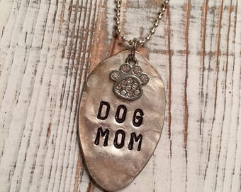 Dog mom hand stamped spoon necklace