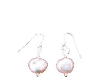 Pink Fresh Water Pearl & Sterling Silver Earrings