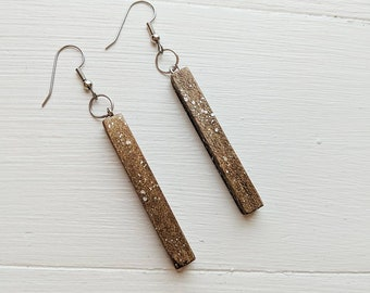 Handmade wood bar drop earrings - handpainted copper with shimmer