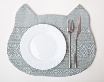 Cat Table Mats, Blue Placemat, Tribal Placemat, Blue Kitchen Decor, Baby Shower Favors, Animal Placemats, Housewarming Gifts, Mom Gift