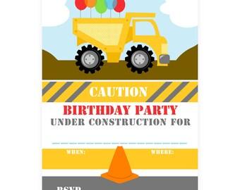 PRINTABLE Construction Party Invites - #DIY #Digital #File (instant download)