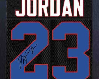 Michael Jordan Chicago Bulls signed autograph NBA Framed printed on 100% COTTON Canvas