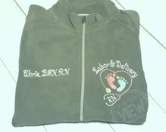 Labor and Delivery Nurse Fleece Jacket with FootPrints Stethoscope-RN LPN zipup light weight fleece jacket--CURTSY