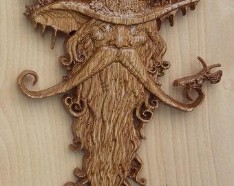 Wood Spirit Wood Carving, Tree Spirit Wood Carving, Carved Wood Spirit, 14 x 10.5  White Oak, Golden Oak Stain, Satin Finish, MADE TO ORDER