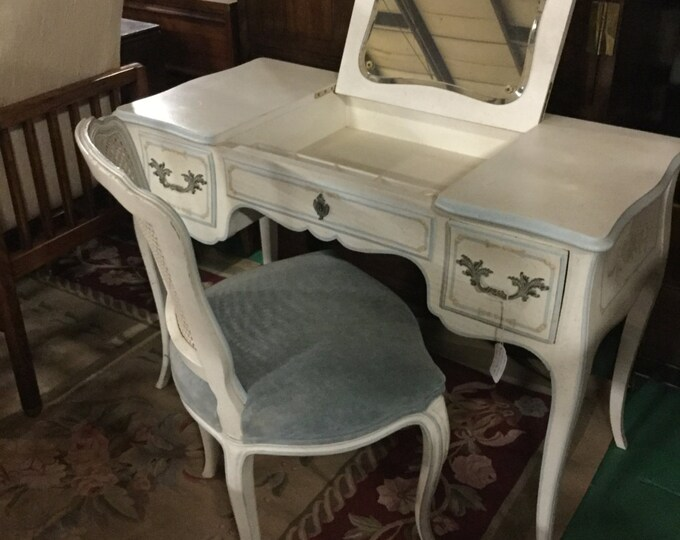 Mid century Hand Painted French Vanity in Solid Oak by John Widdicomb with matching Chair