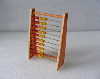 Vintage Plastic Abacus Math Counting Tool Calculating Machine School Abacus Old Plastic Toy
