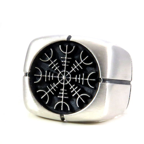 Mens Helm Of Awe Heavy Silver Square Norse Signet Ring