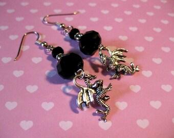 Black Dragon Fantasy Crystal Beaded Earrings