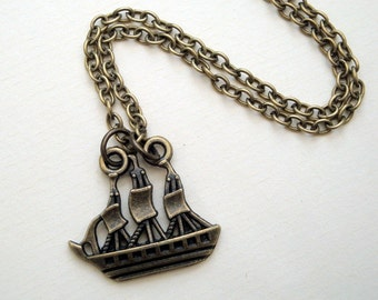 Pirate ship necklace - galleon - in antique bronze