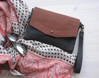 Brown leather clutch, Leather clutch, Brown clutch, Wristlet clutch, Boho clutch, Envelope clutch, Bohemian clutch, Magnet clutch, Mini bag