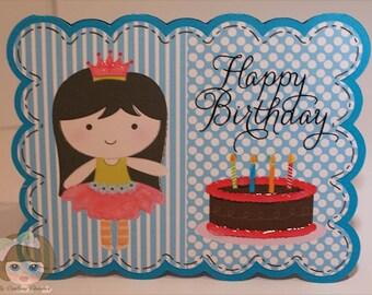 Princess Happy Birthday Card-Birthday Card-Holiday Card-Greeting Card-Handmade Card-Dimensional Card-Princess-Kids Cards