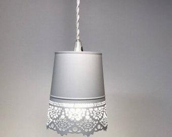 Pendant Light - White Lace Accent