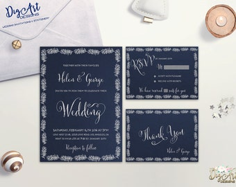 Winter Wedding Invitation Printable Wedding Invitation Suite Navy Silver Wedding Invite Typography Wedding Set DIY Wedding Digital Invite