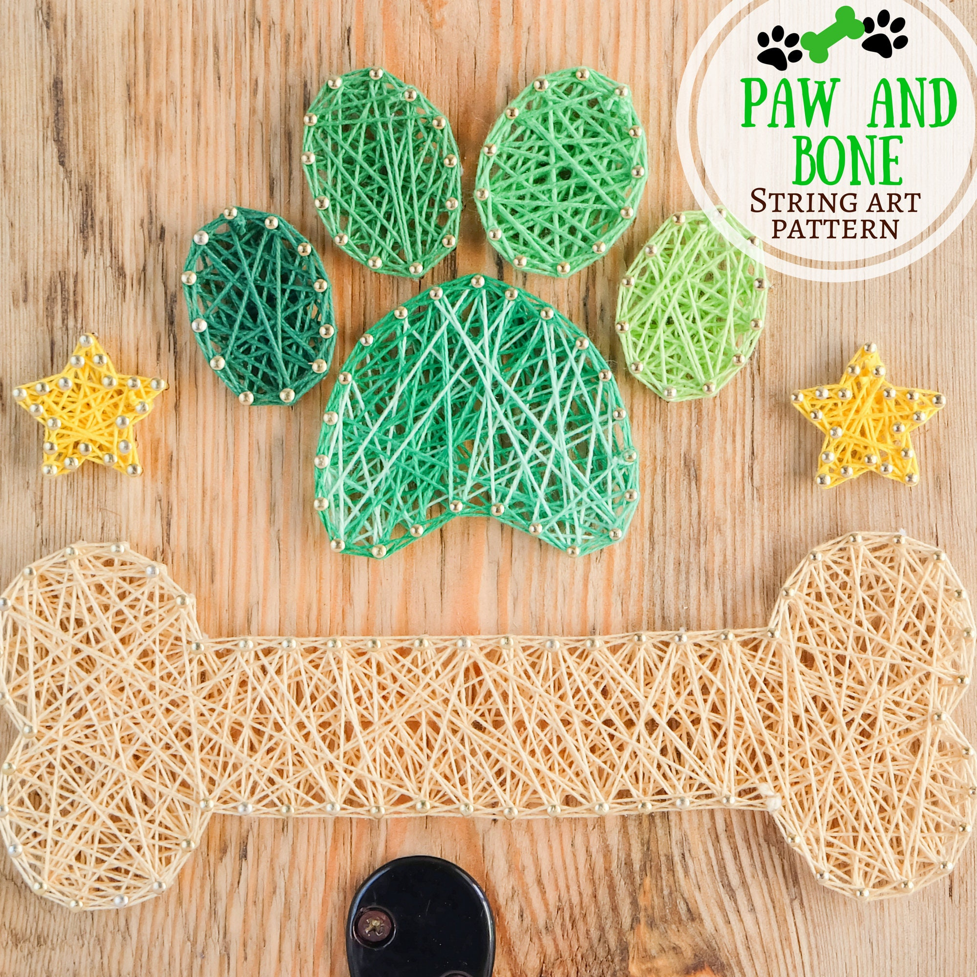 Paw and bone string art pattern, perfect craft project for summer ...