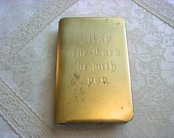 WWII HEART SHIELD Bible Steel Army World War Soldier's Brass Military Prayer Book Vintage