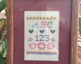 Finished Counted Cross Stitch, Cross Stitch Sampler