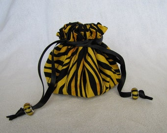 Fabric Jewelry Pouch - Medium Size - Drawstring Fabric Bag - Tote - Jewelry Bag - ZEBRA ZING