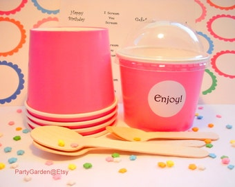 25 Hot Pink Ice Cream Cups - Small 8 oz