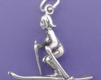 FEMALE SKIER Charm .925 Sterling Silver, Skis, Skiing, Ski Instructor Pendant - sc479