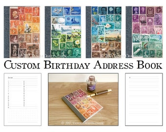 Address Book, Birthday Book | Custom Colour Postage Stamp Gift | A-Z Penpal Contacts List + Pocket Month Planner | Recycled A6 Calendar Book