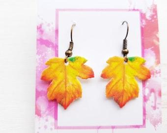Leaf earrings leaf jewellery leaves earrings leaves jewelry nature earrings nature jewellery leaf dangle earrings maple leaf tree earrings