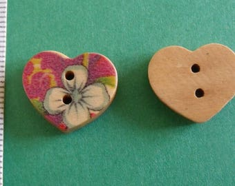 wooden button, set of 14, heart, 15mmx17mm 2holes
