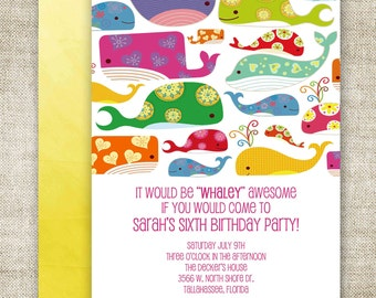 GIRL BIRTHDAY PARTY Invitations Whale Pool Party Digital diy Printable Personalized - 94550920