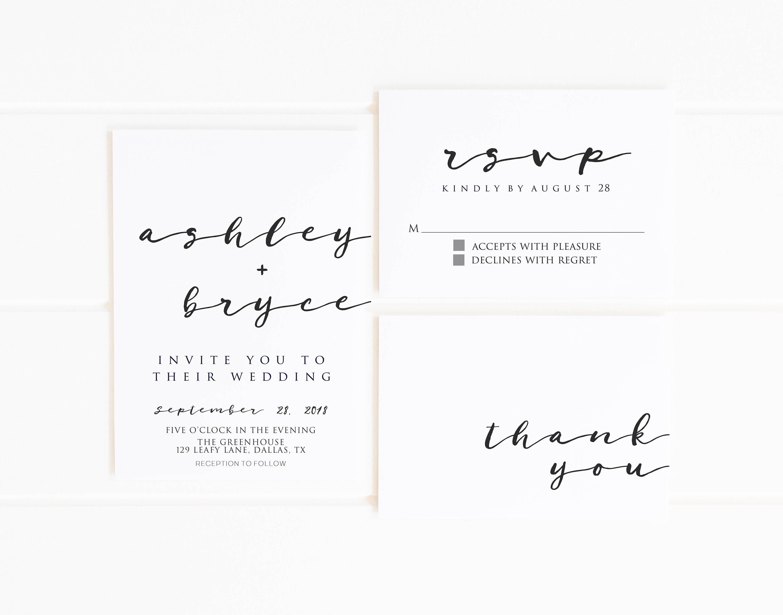Minimalist Wedding Invitation Printable Modern Black and