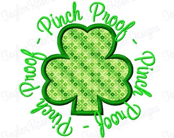 Pinch Proof St. Patrick's Day Shamrock Applique Machine Embroidery Design 4x4 5x5 6x6 7x7 8x8 clover INSTANT DOWNLOAD